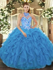 Halter Top Sleeveless Quinceanera Dresses Floor Length Beading and Embroidery and Ruffles Baby Blue Organza