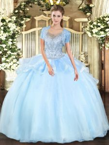 Aqua Blue Scoop Neckline Beading Sweet 16 Dress Sleeveless Clasp Handle