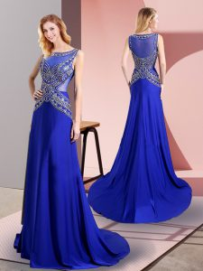 Artistic Royal Blue Sleeveless Sweep Train Beading Floor Length Prom Dress