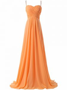 High Class Orange Empire Spaghetti Straps Sleeveless Chiffon Sweep Train Criss Cross Ruching Prom Evening Gown