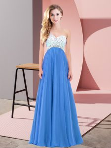 Ideal Blue Criss Cross One Shoulder Beading Dress for Prom Chiffon Sleeveless