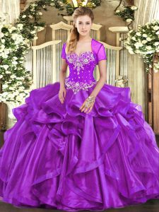Pretty Sweetheart Sleeveless Quinceanera Gowns Floor Length Beading and Ruffles Purple Organza