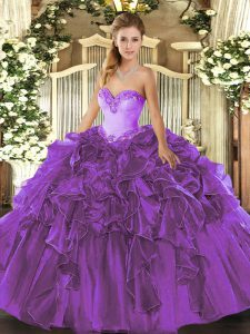 Purple Sleeveless Floor Length Beading and Ruffles Lace Up Sweet 16 Dress