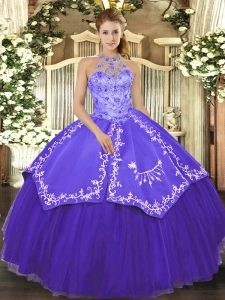 Purple Halter Top Neckline Beading and Embroidery Quinceanera Gowns Sleeveless Lace Up