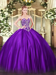 Designer Purple Ball Gowns Sweetheart Sleeveless Satin Floor Length Lace Up Beading Sweet 16 Dress