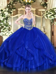 Affordable Sweetheart Sleeveless Lace Up Sweet 16 Dress Royal Blue Tulle