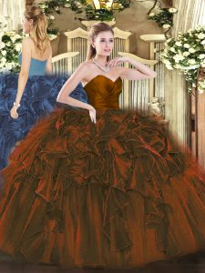 Cute Brown Organza Zipper Sweetheart Sleeveless Floor Length Quinceanera Dress Ruffles