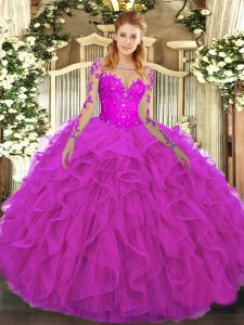 Ball Gowns Quinceanera Dresses Fuchsia Scoop Tulle Long Sleeves Floor Length Lace Up