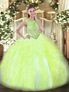 Enchanting Yellow Green Vestidos de Quinceanera Sweet 16 and Quinceanera with Beading and Ruffles Scoop Sleeveless Lace Up