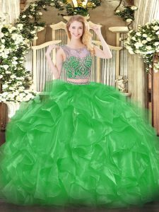Decent Green Two Pieces Scoop Sleeveless Organza Floor Length Lace Up Beading and Ruffles Ball Gown Prom Dress