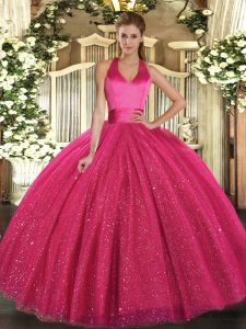 Floor Length Hot Pink Quince Ball Gowns Tulle Sleeveless Sequins