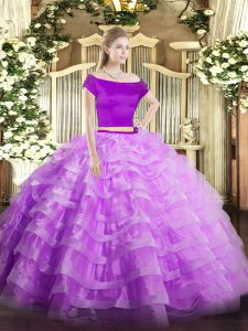 Graceful Lilac Two Pieces Off The Shoulder Short Sleeves Tulle Floor Length Zipper Appliques and Ruffled Layers Vestidos de Quinceanera