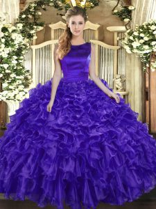 Purple Ball Gowns Scoop Sleeveless Organza Floor Length Lace Up Ruffles Sweet 16 Dress