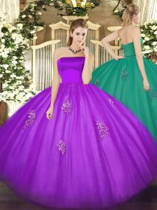 Adorable Eggplant Purple Sleeveless Appliques Floor Length 15 Quinceanera Dress