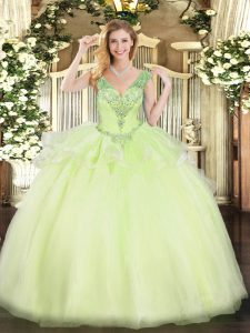 Yellow Green Sleeveless Floor Length Beading Lace Up Vestidos de Quinceanera