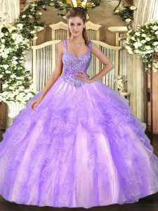 Luxury Lavender Lace Up Quince Ball Gowns Beading and Ruffles Sleeveless Floor Length