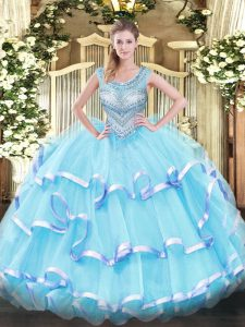Wonderful Aqua Blue Scoop Lace Up Beading and Ruffled Layers Vestidos de Quinceanera Sleeveless
