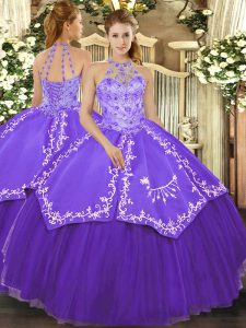 Lovely Purple Ball Gowns Beading and Embroidery 15th Birthday Dress Lace Up Satin and Tulle Sleeveless Floor Length