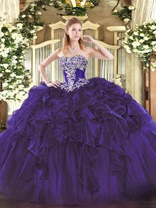 Charming Purple Quinceanera Dress Military Ball and Sweet 16 and Quinceanera with Beading and Ruffles Strapless Sleeveless Lace Up