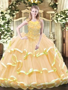 Clearance Scoop Sleeveless Organza Sweet 16 Dress Beading and Ruffled Layers Zipper