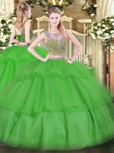 Scoop Sleeveless Tulle Sweet 16 Dresses Beading and Ruffled Layers Lace Up