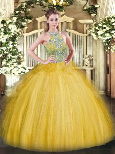 Fabulous Floor Length Lace Up Quinceanera Dresses Gold for Military Ball and Sweet 16 and Quinceanera with Beading and Ruffles