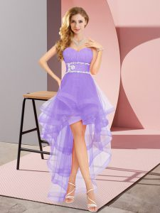 Sophisticated Lavender Lace Up Prom Dresses Beading Sleeveless High Low