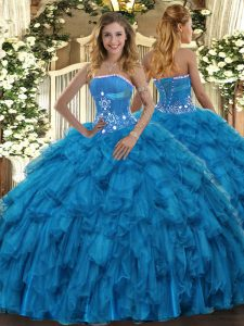 Baby Blue Ball Gowns Organza Strapless Sleeveless Beading and Ruffles Floor Length Lace Up 15th Birthday Dress