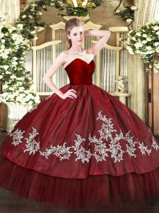 Modern Sleeveless Floor Length Embroidery Zipper Quinceanera Gowns with Wine Red