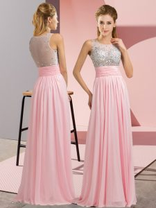 Designer Baby Pink Chiffon Side Zipper Prom Gown Sleeveless Floor Length Beading