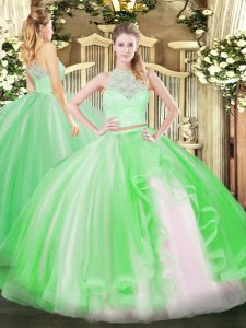 On Sale Sleeveless Floor Length Lace and Ruffles Zipper Vestidos de Quinceanera with Green