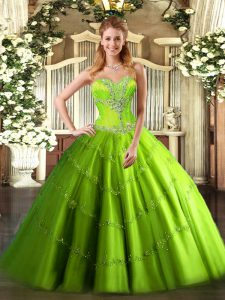 High End Tulle Lace Up Ball Gown Prom Dress Sleeveless Floor Length Beading