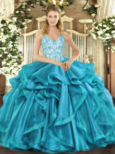 Sexy Teal 15th Birthday Dress Sweet 16 and Quinceanera with Beading and Appliques and Ruffles Straps Sleeveless Lace Up
