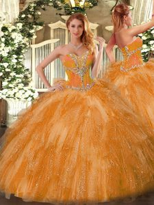 Inexpensive Sweetheart Sleeveless 15 Quinceanera Dress Beading and Ruffles Orange Organza
