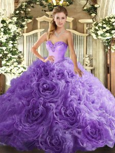 Most Popular Lavender Fabric With Rolling Flowers Lace Up Sweetheart Sleeveless Floor Length Ball Gown Prom Dress Beading