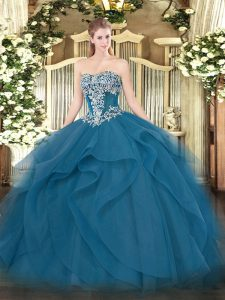 Super Floor Length Ball Gowns Sleeveless Teal Quinceanera Gowns Lace Up