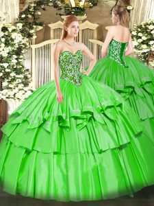 Stunning Ball Gowns Ball Gown Prom Dress Sweetheart Organza and Taffeta Sleeveless Floor Length Lace Up