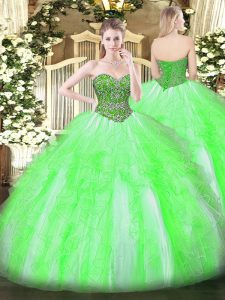 Sweetheart Lace Up Beading and Ruffles Sweet 16 Quinceanera Dress Sleeveless