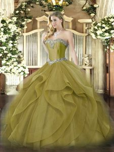 Olive Green Sweetheart Neckline Beading and Ruffles Ball Gown Prom Dress Sleeveless Lace Up