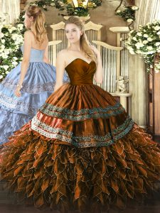Glittering Sweetheart Sleeveless Organza and Taffeta Sweet 16 Quinceanera Dress Embroidery and Ruffles Zipper