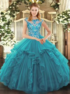 Comfortable Teal Cap Sleeves Organza Lace Up Quinceanera Gowns for Sweet 16 and Quinceanera