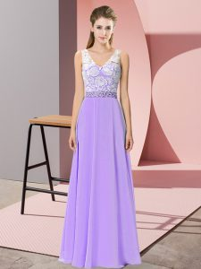 Sleeveless Beading Backless Prom Dresses
