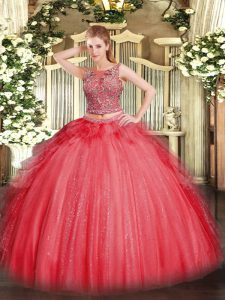 Super Coral Red Lace Up Sweet 16 Dress Beading and Ruffles Sleeveless Floor Length