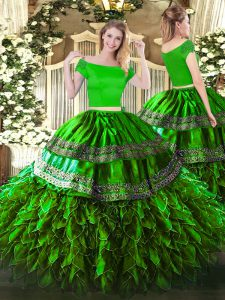 Artistic Off The Shoulder Short Sleeves Zipper Quinceanera Gowns Green Organza and Taffeta