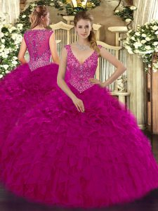 Unique Sleeveless Floor Length Beading and Ruffles Zipper Quinceanera Dresses with Fuchsia