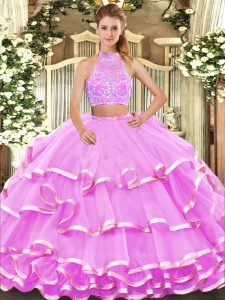 Halter Top Sleeveless Criss Cross Quince Ball Gowns Lilac Tulle
