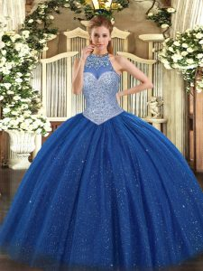 Popular Royal Blue Ball Gowns Halter Top Sleeveless Tulle Floor Length Lace Up Beading Quinceanera Dress