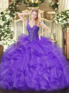High Class Organza V-neck Sleeveless Lace Up Beading and Ruffles Vestidos de Quinceanera in Lavender