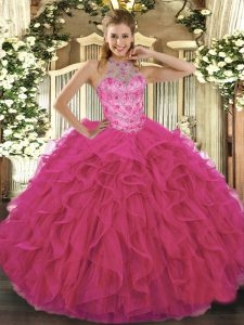 Gorgeous Hot Pink Sleeveless Organza Lace Up 15 Quinceanera Dress for Military Ball and Sweet 16 and Quinceanera