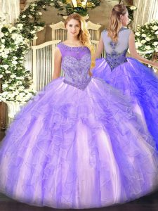 Edgy Floor Length Lace Up Quinceanera Dress Lavender for Sweet 16 and Quinceanera with Beading and Ruffles